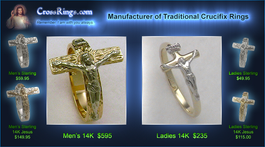Traditional Crucifix Rings from CrossRings.com